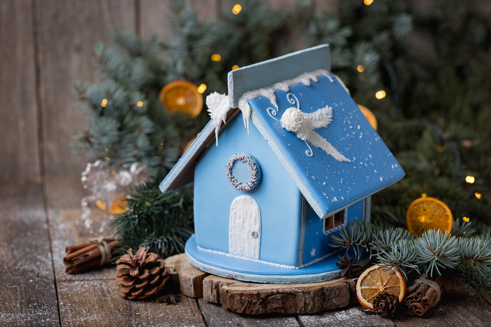 Christmas gingerbread house with blue icing