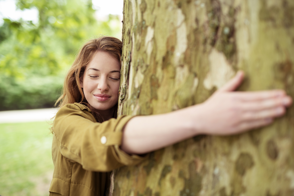 Woman hugs a tree in a Boston park