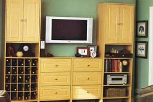 Space saving entertainment center with wine cubby for apartments