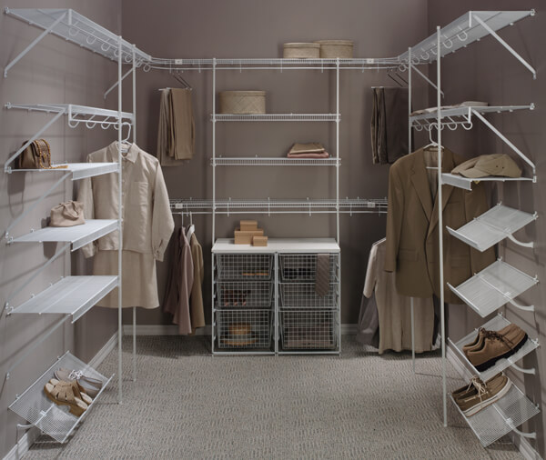 White wire walk-in closet with shelving, shoe racks, and mesh baskets