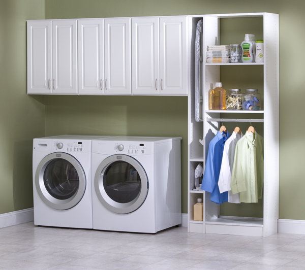 White laundry room cabinet system