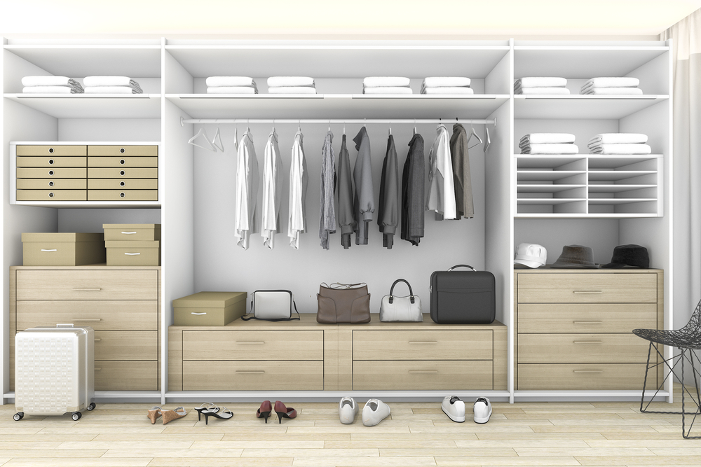 Clean and organized walk-in closet