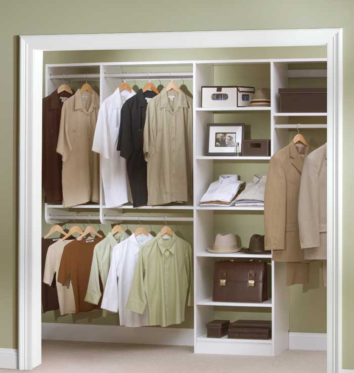 Custom reach-in closet for men with shelves and hanging rods