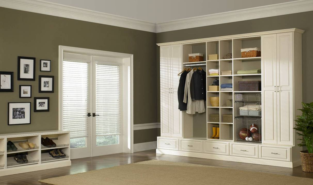 : Ivory cabinet system with shoe rack for home entrance organization