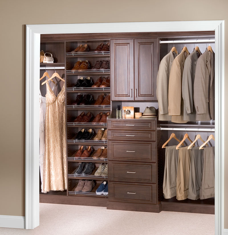 : Dark brown reach-in closet and shelving system installation in Andover