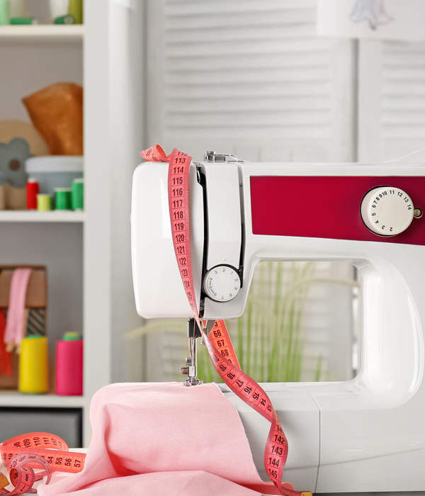 Sewing and craft room organization with narrow built-ins