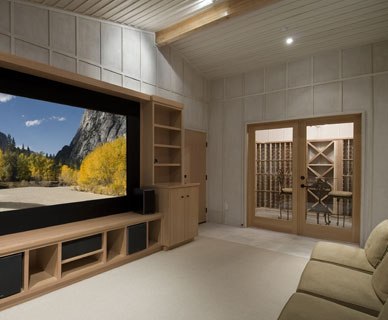 Man cave with large entertainment center and wine cellar