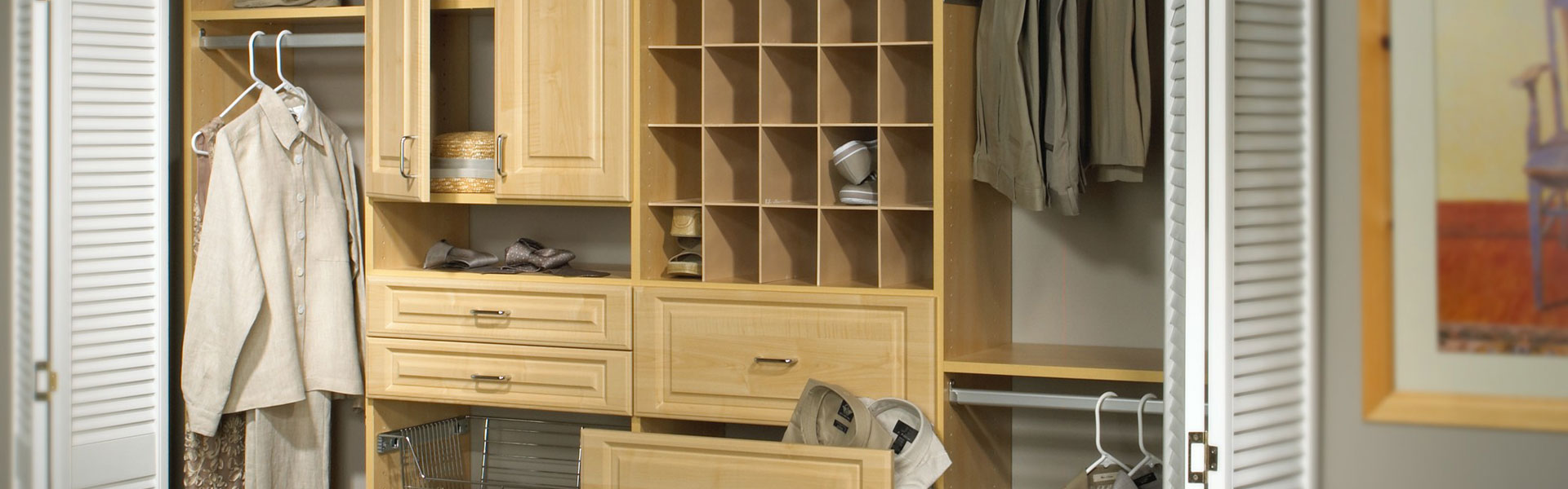 Drawers open in Maple reach-in closet design by Norton organizers