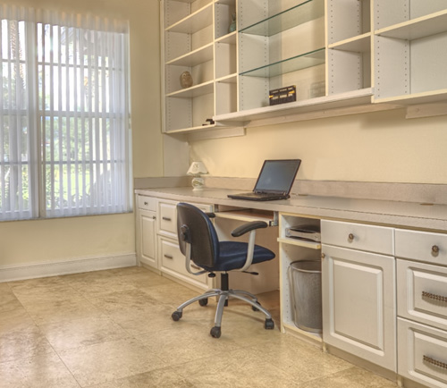 Home office cabinet system with open upper built-in shelving