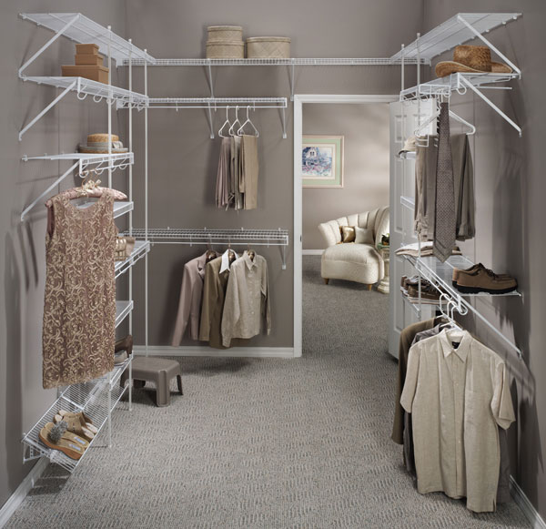 Affordable white wire walk-in closet design in Reading