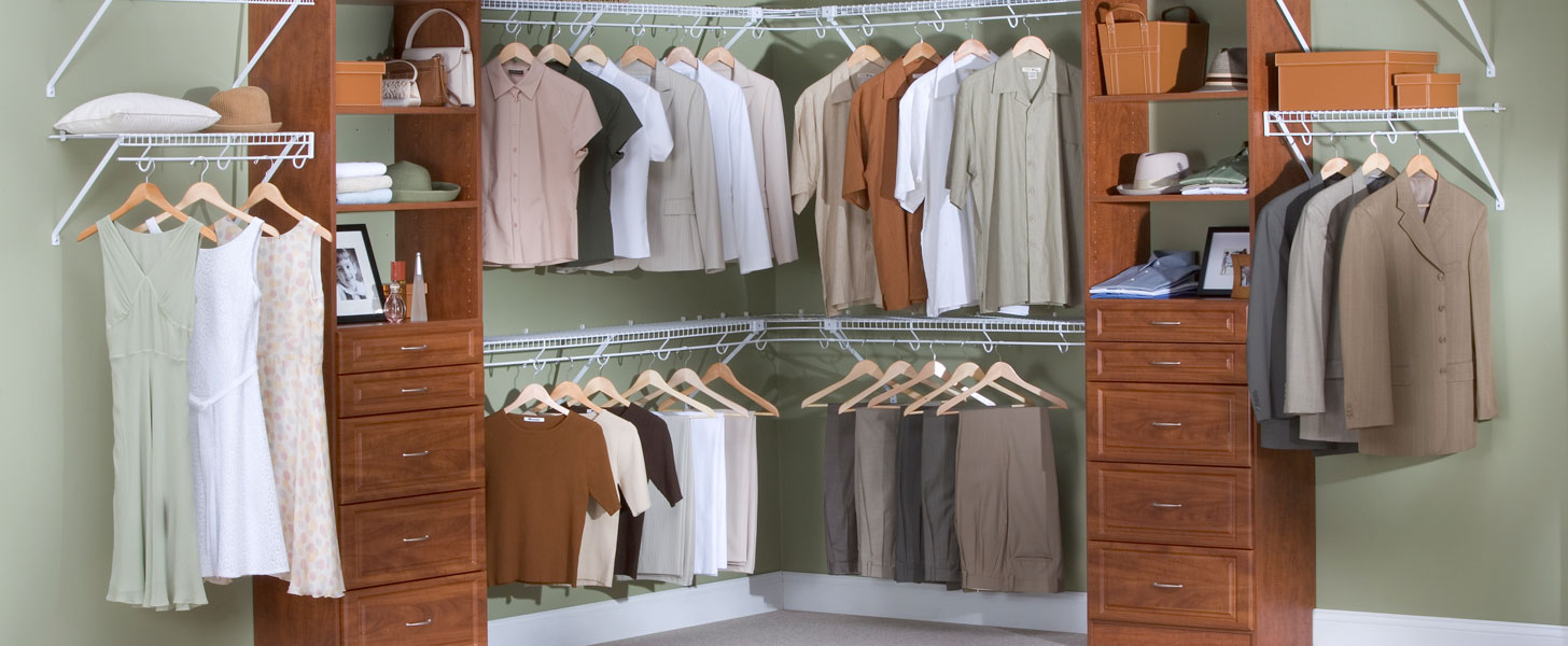 Affordable wire and laminate walk-in closet design in Cohasset