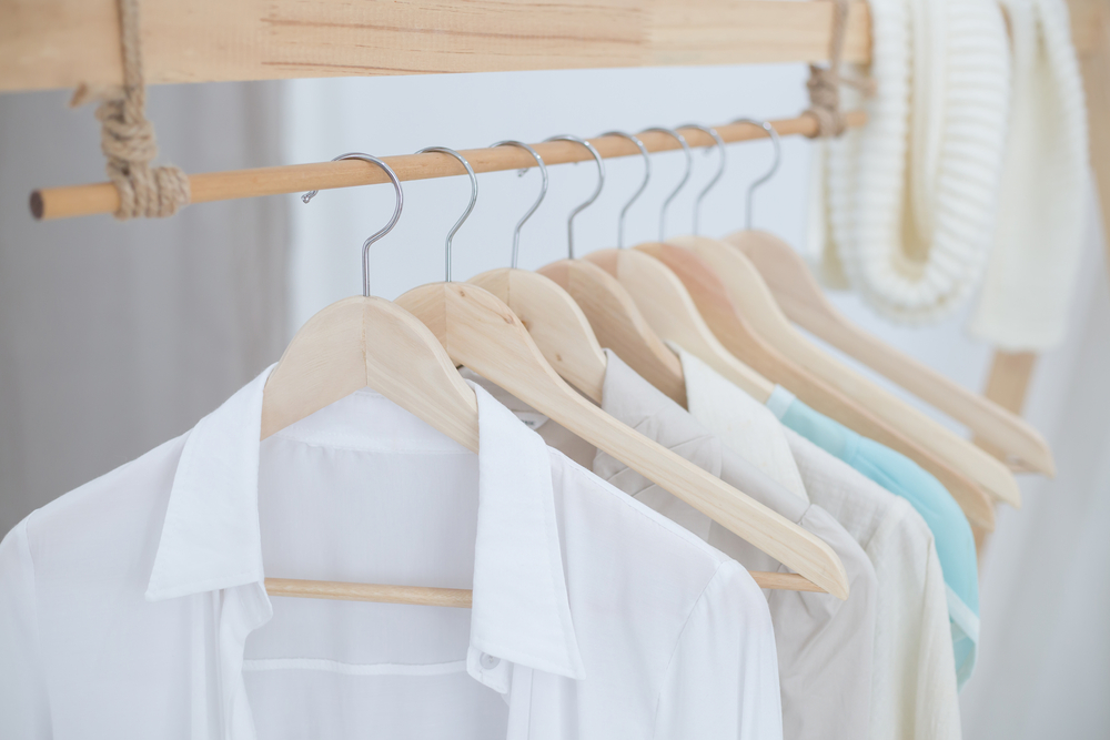Clothes hanging on rack in Boston Walk-in Closet