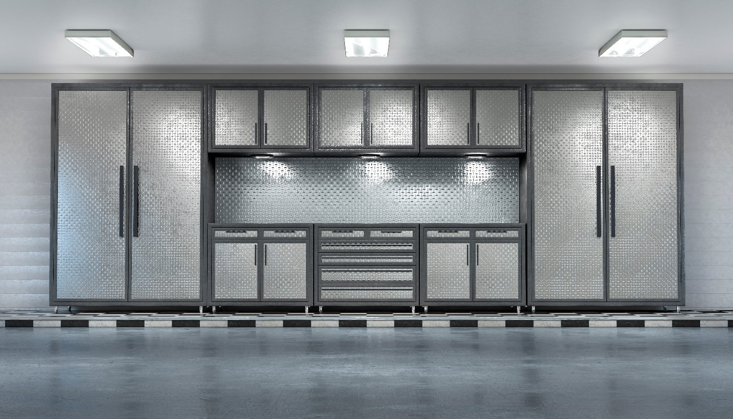 Brightly lit garage with two-tone grey metal wall cabinets, grey epoxy flooring, and white walls.